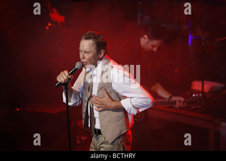 Peter Kraus, rock'n' roll musician, open air concert, Muehldorf am Inn, Bavaria, Germany - Stock Photo