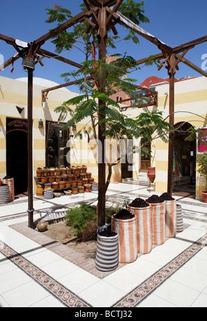 Spices in sacks, pergola, traditional market, souk, Hurghada, Egypt, Red Sea, Africa - Stock Photo