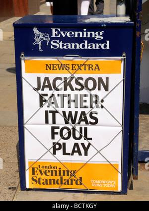 Evening Standard Newspaper Headline - Michael Jackson father it was foul play