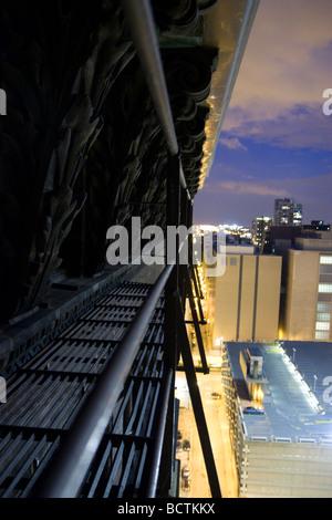 Fire escape at night Monadnock Building in Chicago - Stock Photo