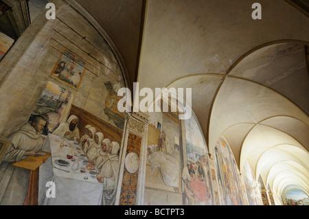 Renaissance frescoes in Monte Oliveto Maggiore monastery, Tuscany, Italy - Stock Photo