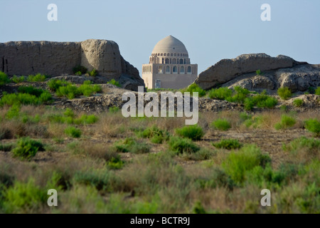City Walls and Mausoleum of Sultan Ahmad Sanjar in the Ruins of Merv in Turkmenistan - Stock Photo