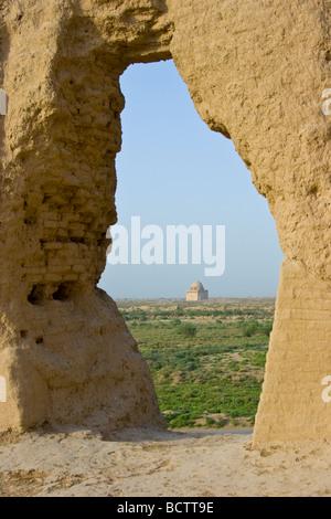 Mausoleum of Sultan Ahmad Sanjar in the Ruins of Merv in Turkmenistan - Stock Photo