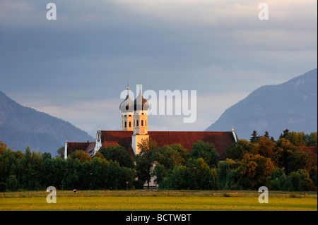 Kloster Benediktbeuern monastery in the evening light, district of Bad Toelz-Wolfratshausen, Bavaria, Germany, Europe - Stock Photo