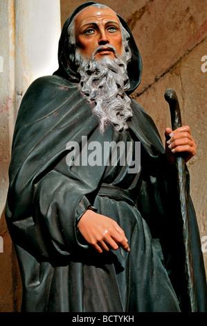 Spain, St. James Way: Statue of Saint Dominic in the church of San Juan de Ortega - Stock Photo