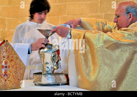 Spain, St. James Way: Traditional farmer´s mass with the silver head of Saint Gregory in the monastary of Irache