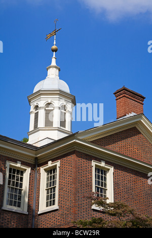 Low angle view of a building, Carpenters' Hall, Independence National Historical Park, Old City, Philadelphia, Pennsylvania, - Stock Photo