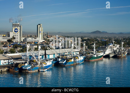 Fishing boats at a dock, Mazatlan, Sinaloa, Mexico - Stock Photo