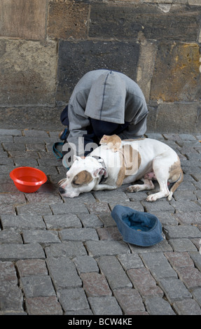 Young Homeless Person With His Pet Dog Begging In Central