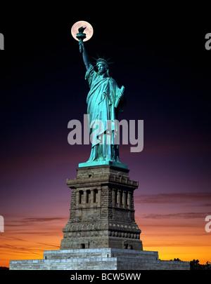 Statue of Liberty, full moon, twilight, composing, New York, USA - Stock Photo