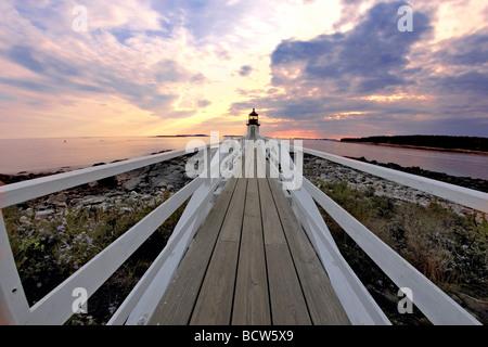 Lighthouse at the coast, Marshall Point Lighthouse, Port Clyde, Maine, USA - Stock Photo