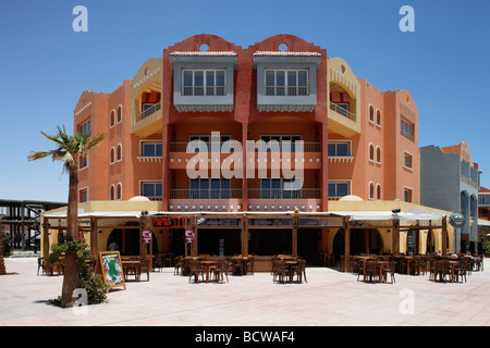 Open-air restaurant, bar, houses, Hurghada, Egypt, Red Sea, Africa - Stock Photo