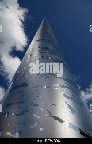 looking up at the spire of dublin monument of light on oconnell street dublin republic of ireland - Stock Photo