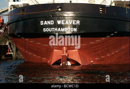 Plimsoll line numbers on the stern of Sand Weaver cargo ship, Falmouth Docks, Cornwall, UK - Stock Photo