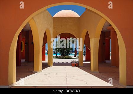 Courtyard, traditional market, Souk, marina, Hurghada, Egypt, Red Sea, Africa - Stock Photo