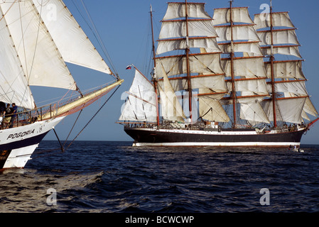 The bow of Pogoria barquentine ship from Poland with Russian Sedov ship, Funchal 500 Tall Ships Race 2008, Falmouth, - Stock Photo