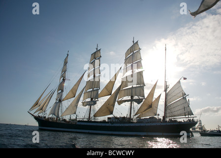 The Russian STS Sedov ship, a four masted steel barque, Funchal 500 Tall Ships Race 2008, Falmouth, Cornwall, UK - Stock Photo
