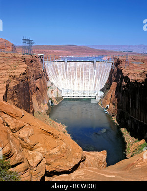 Hoover Dam, Lake Mead Reservoir, Colorado, Arizona, Nevada, USA - Stock Photo