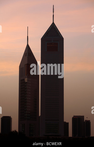The Emirates Towers complex located on the Sheikh Zayed Road in Dubai, UAE - Stock Photo