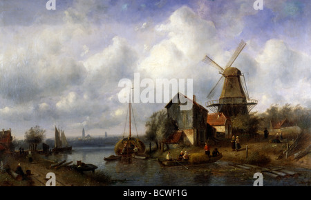 A Dutch Canal, by Charles Henri Joseph Leickert 1818-1907 - Stock Photo