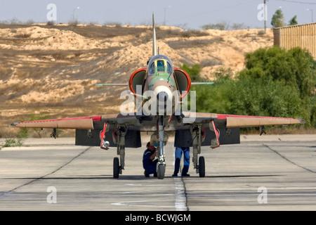 Israeli Air Force Mcdonnell Douglas Skyhawk fighter jet on the ground - Stock Photo