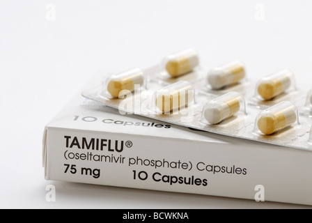 Tamiflu, oseltamivir, an antiviral medication used to treat influenza A and influenza B including swine flu and - Stock Photo