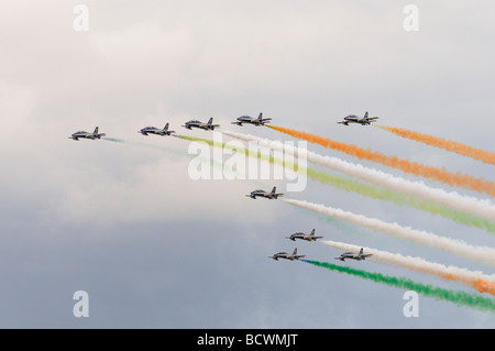 The Italian Air Force aerobatic team Il Frecce Tricolori in formation and with smoke on, display at the 2009 RIAT - Stock Photo