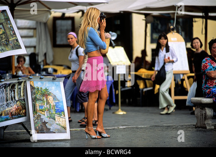 Young woman, tourist, taking picture of Piazza Navona, Rome, Lazio, Italy, Europe - Stock Photo