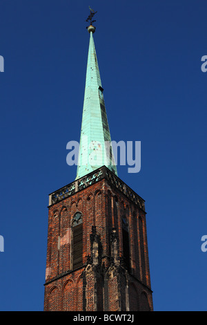 Tower Holy Cross gothic church against blue sky Wroclaw Lower Silesia Poland - Stock Photo