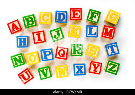 alphabet blocks on white - Stock Photo