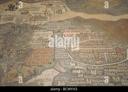 Elk164 1722 Jordan Madaba St George s Church Mosaic Map of Middle East 560 AD - Stock Photo