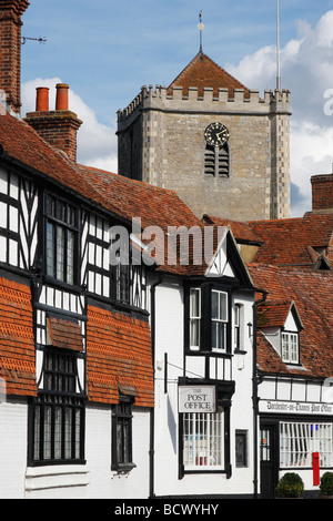 [Dorchester on Thames] [High Street] tudor buildings and abbey tower, Oxfordshire, England, UK - Stock Photo