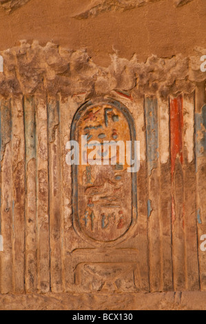 Egypt Kom Ombo temple Egypt cartouche with color - Stock Photo