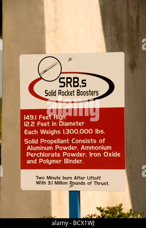 SRB solid rocket booster sign Kennedy Space Center Cape Canaveral Florida - Stock Photo