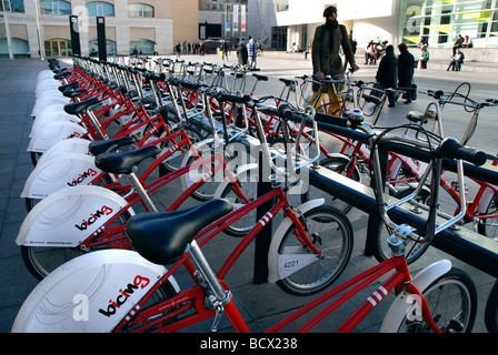 Bicing Municipal self service rental bycicles in front of MACBA Barcelona Catalonia Spain - Stock Photo