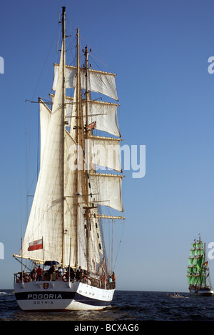 The Pogoria barquentine ship from Poland and Alexander Von Humboldt from Germany, Funchal 500 Tall Ships Regatta - Stock Photo