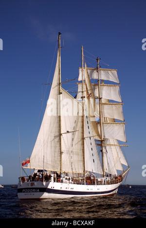 The Pogoria barquentine ship from Poland, Funchal 500 Tall Ships Regatta 2008, Falmouth, Cornwall, UK - Stock Photo