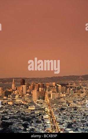 Usa California San Francisco Skyline viewed from Twin Peaks - Stock Photo