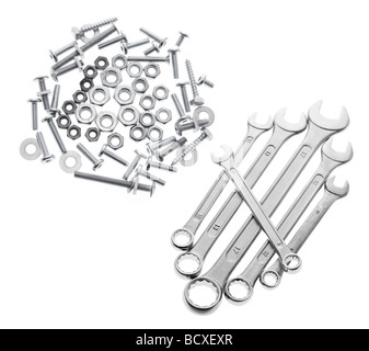 Spanners with Bolts and Nuts - Stock Photo
