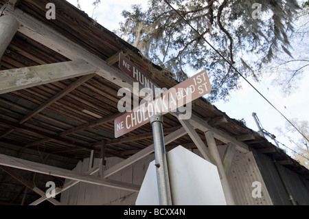 quaint old historic town of Micanopy in North Central Florida - Stock Photo