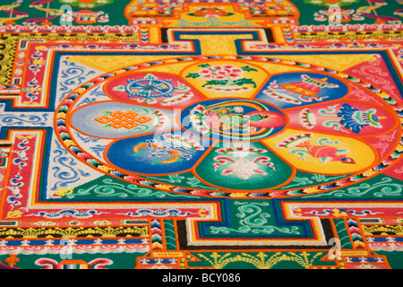 Colorful sand mandala - Stock Photo
