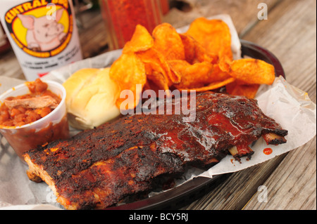 USA Tennessee Memphis Central BBQ restaurant southern style ribs - Stock Photo