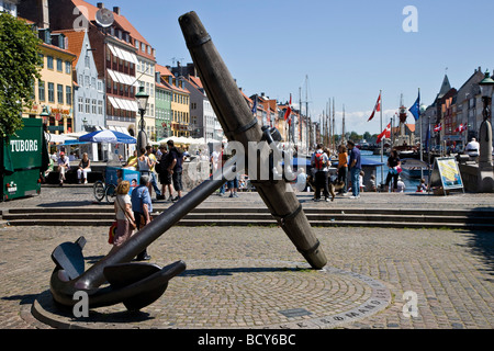 The Big Anchor, commemorating the Danish sailors who died during World War II, in Nyhavn, Copenhagen, Denmark - Stock Photo