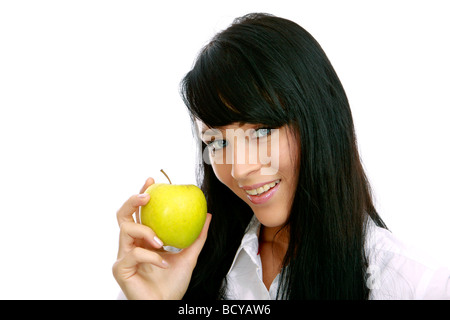 junge Frau mit Apfel girl holding a green apple - Stock Photo