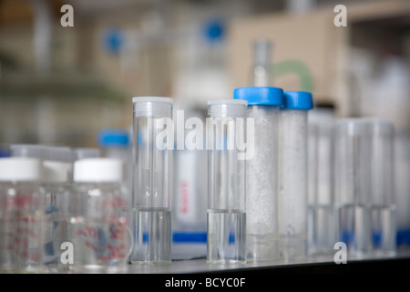Glass tubes with white and blue lids - Stock Photo