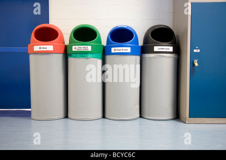 Recycling Bins indoors - Stock Photo
