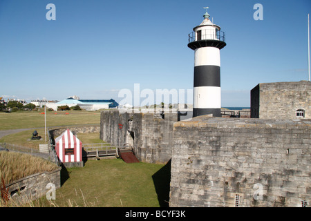 Southsea Castle and light house, Portsmouth, Hampshire, UK. - Stock Photo