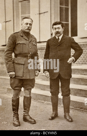 Field Marshal Sir Douglas Haig Commander in Chief of British forces left and Paul Painleve French Minister of War - Stock Photo