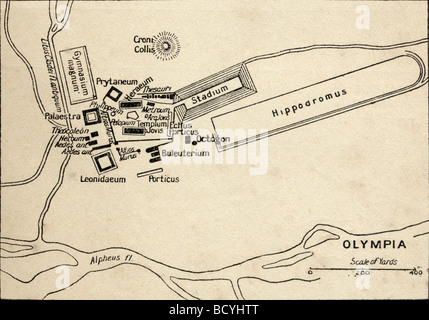 Plan of Olympia, Elis, Greece. Site of the Olympic Games in classical times - Stock Photo