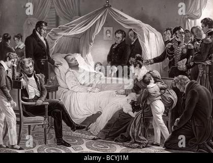 Napoleon 1st on his death bed on St Helene May 5 1821.  Napoléon Bonaparte, 1769 –1821. French statesman, military - Stock Photo